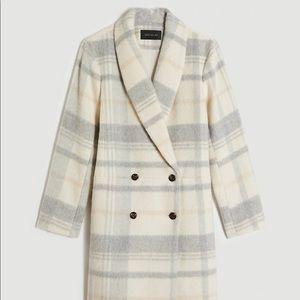 Ann Taylor Cream Wool Plaid Coocoon Coat S